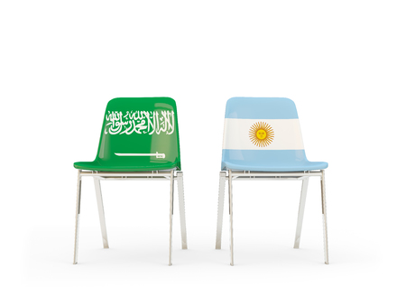Two chairs with flags of Saudi Arabia and argentina isolated on white. Communicationdialog concept. 3D illustration 版權商用圖片