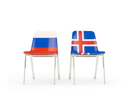 Two chairs with flags of Russia and iceland isolated on white. Communication/dialog concept. 3D illustration