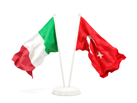 Two waving flags of Italy and turkey isolated on white. 3D illustration