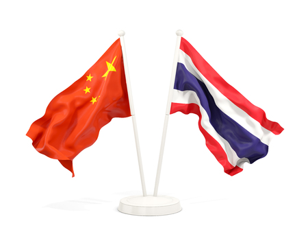 Two waving flags of China and thailand isolated on white. 3D illustration