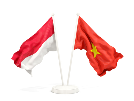 Two waving flags of Indonesia and vietnam isolated on white. 3D illustration