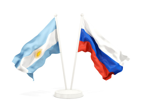 Two waving flags of Argentina and russia isolated on white. 3D illustration