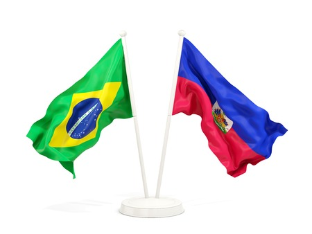 Two waving flags of Brazil and haiti isolated on white. 3D illustration