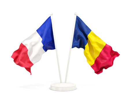 Two waving flags of France and chad isolated on white. 3D illustration