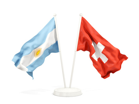 Two waving flags of Argentina and switzerland isolated on white. 3D illustration Stock Photo