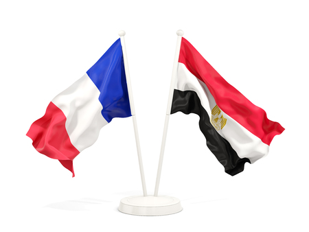 Two waving flags of France and egypt isolated on white. 3D illustration Stock Photo