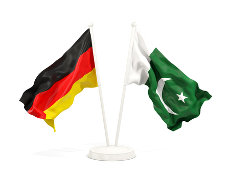 Two waving flags of Germany and pakistan isolated on white. 3D illustration