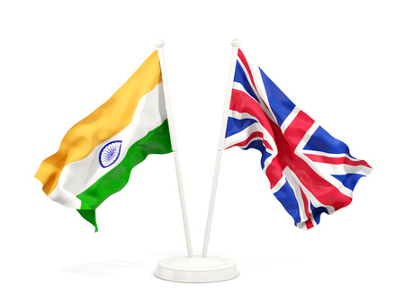 Two waving flags of India and UK isolated on white. 3D illustration