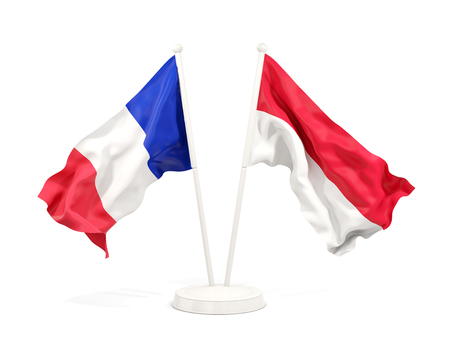Two waving flags of France and monaco isolated on white. 3D illustration