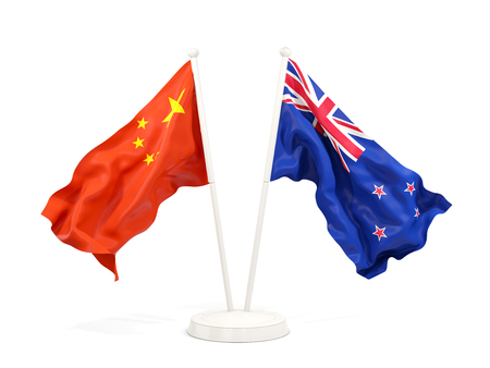 Two waving flags of China and new zealand isolated on white. 3D illustration