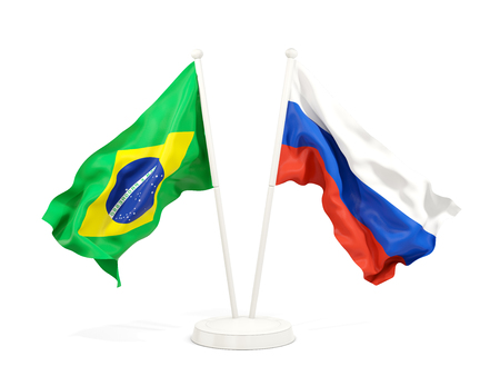 Two waving flags of Brazil and russia isolated on white. 3D illustration