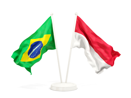 Two waving flags of Brazil and indonesia isolated on white. 3D illustration