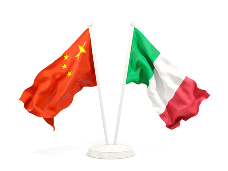 Two waving flags of China and italy isolated on white. 3D illustration