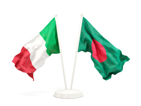 Two waving flags of Italy and bangladesh isolated on white. 3D illustration