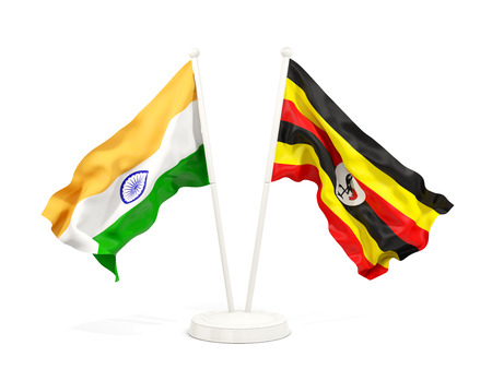 Two waving flags of India and uganda isolated on white. 3D illustration Stock Photo