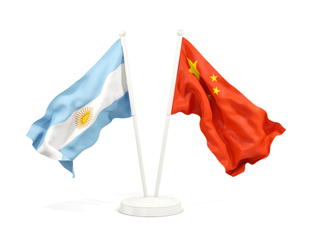 Two waving flags of Argentina and china isolated on white. 3D illustration Stock Photo