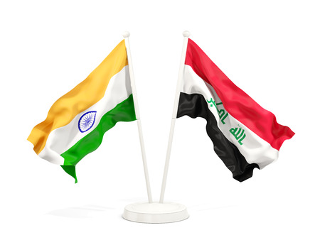 Two waving flags of India and iraq isolated on white. 3D illustration