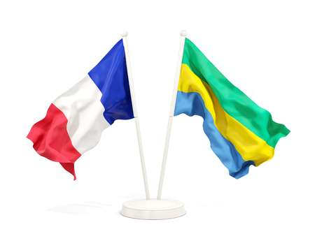 Two waving flags of France and gabon isolated on white. 3D illustration
