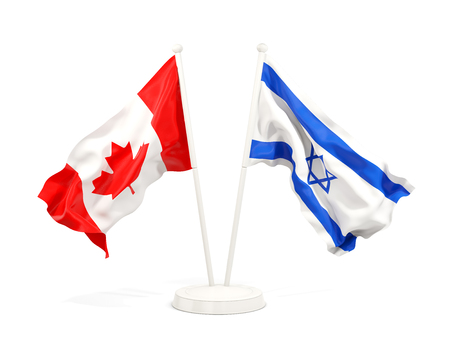 Two waving flags of Canada and israel isolated on white. 3D illustration