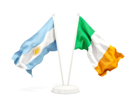 Two waving flags of Argentina and isolated on white. 3D illustration