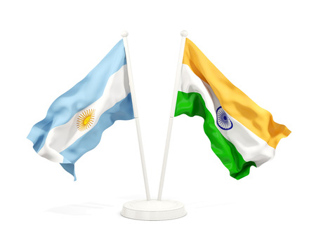 Two waving flags of Argentina and india isolated on white. 3D illustration