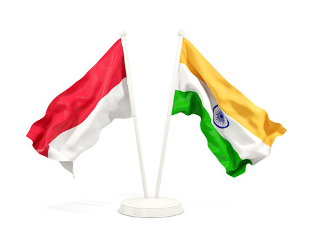 Two waving flags of Indonesia and india isolated on white. 3D illustration Stock Illustration - 123257302
