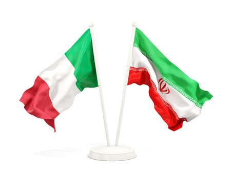 Two waving flags of Italy and iran isolated on white. 3D illustration