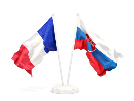 Two waving flags of France and slovakia isolated on white. 3D illustration
