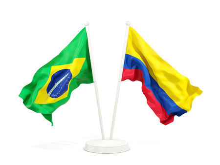 Two waving flags of Brazil and colombia isolated on white. 3D illustration Stock Photo