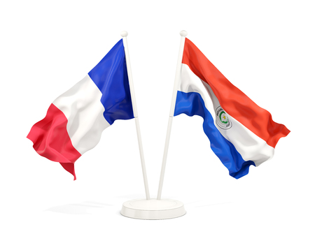 Two waving flags of France and paraguay isolated on white. 3D illustration