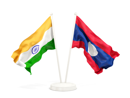 Two waving flags of India and laos isolated on white. 3D illustration Stock Photo