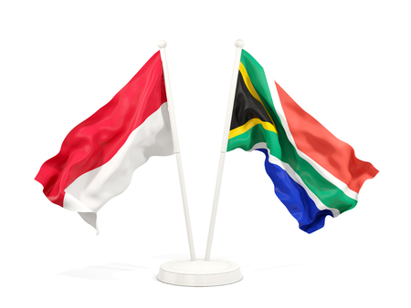 Two waving flags of Indonesia and south africa isolated on white. 3D illustration Stock Photo