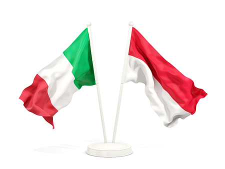 Two waving flags of Italy and indonesia isolated on white. 3D illustration