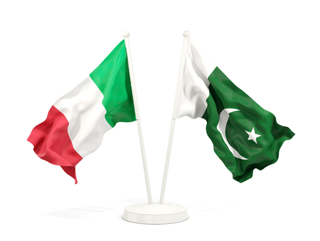 Two waving flags of Italy and pakistan isolated on white. 3D illustration