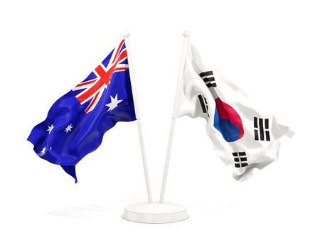 Two waving flags of Australia and south korea isolated on white. 3D illustration