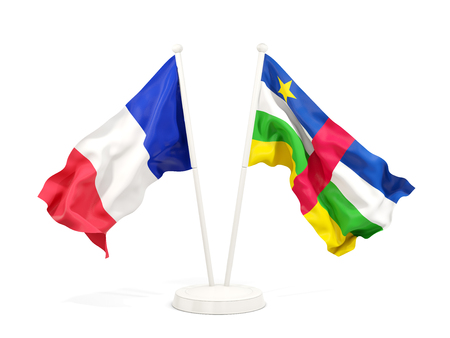 Two waving flags of France and central african republic isolated on white. 3D illustration Stock Photo