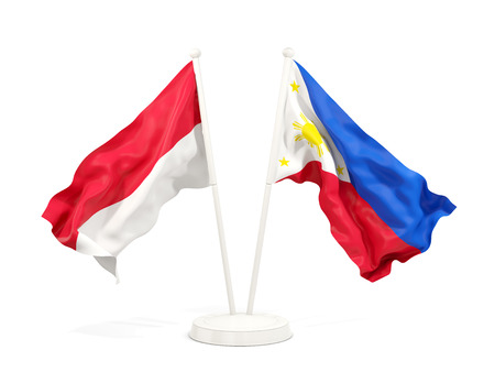 Two waving flags of Indonesia and philippines isolated on white. 3D illustration Stock Photo