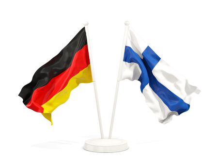 Two waving flags of Germany and finland isolated on white. 3D illustration