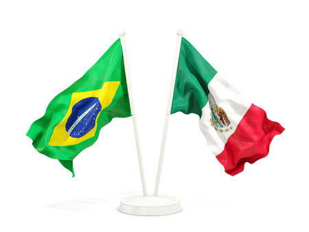 Two waving flags of Brazil and mexico isolated on white. 3D illustration Stock Photo