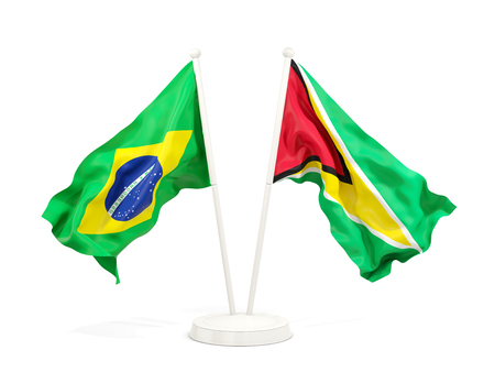Two waving flags of Brazil and guyana isolated on white. 3D illustration