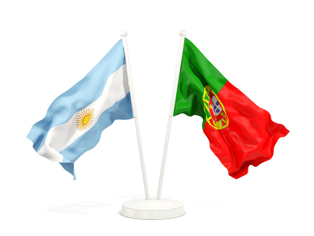 Two waving flags of Argentina and portugal isolated on white. 3D illustration Stock Photo