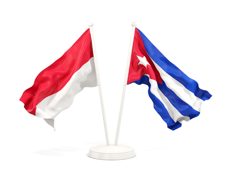 Two waving flags of Indonesia and cuba isolated on white. 3D illustration
