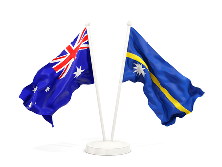 Two waving flags of Australia and nauru isolated on white. 3D illustration