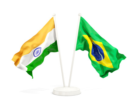 Two waving flags of India and brazil isolated on white. 3D illustration Stock Photo