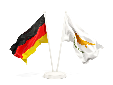 Two waving flags of Germany and cyprus isolated on white. 3D illustration