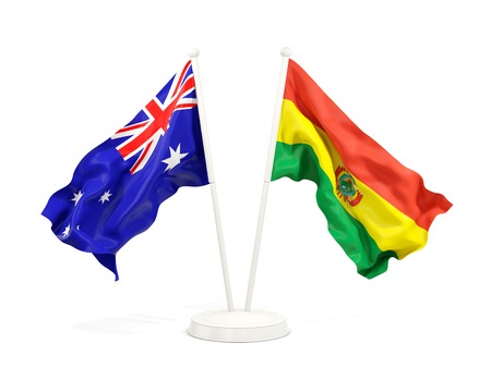 Two waving flags of Australia and bolivia isolated on white. 3D illustration Stock Photo