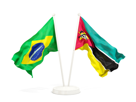 Two waving flags of Brazil and mozambique isolated on white. 3D illustration