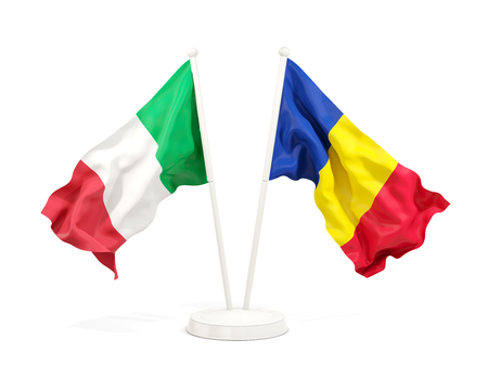 Two waving flags of Italy and romania isolated on white. 3D illustration Stock Photo