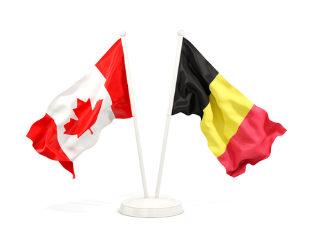 Two waving flags of Canada and belgium isolated on white. 3D illustration Stock Photo