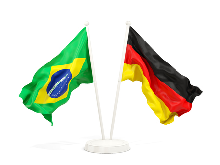 Two waving flags of Brazil and germany isolated on white. 3D illustration